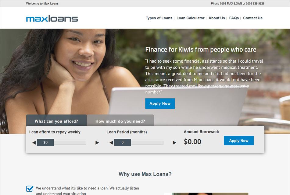 MaxLoans Website