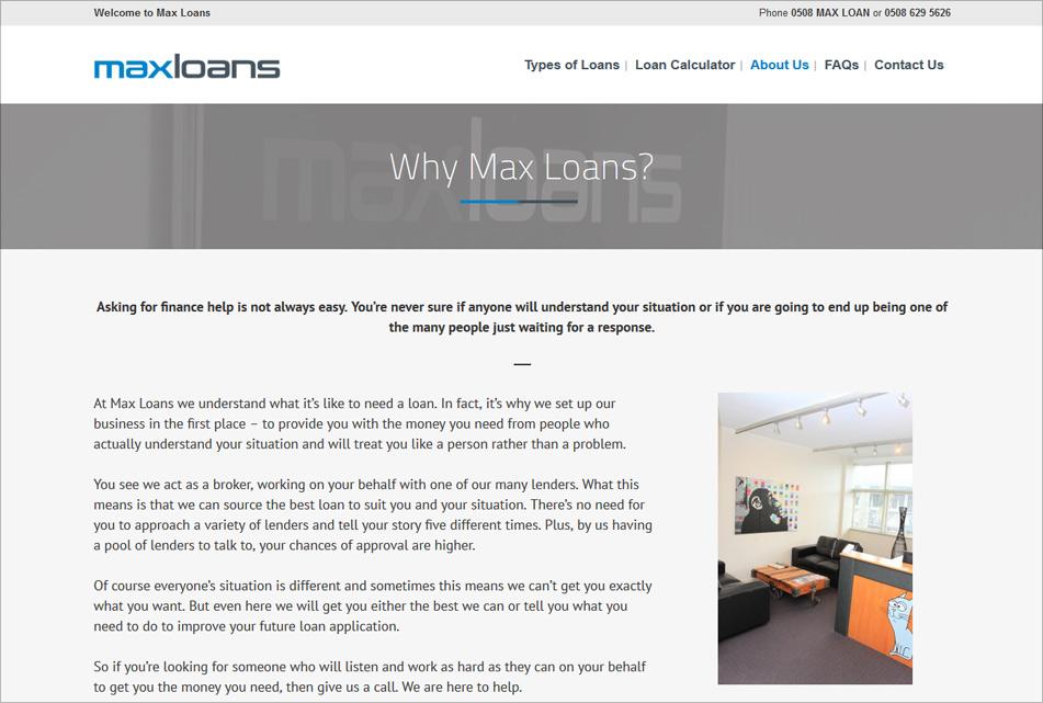 MaxLoans Website 2
