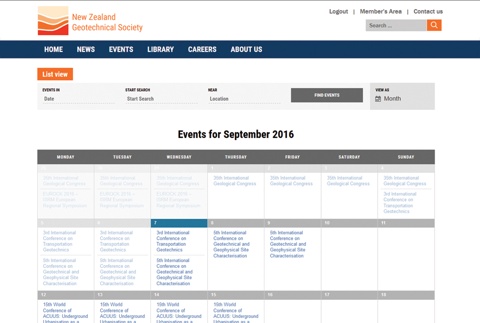 NZGS Events Calendar Functionality