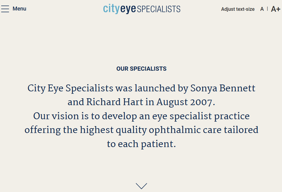 Eye City Specialists Website