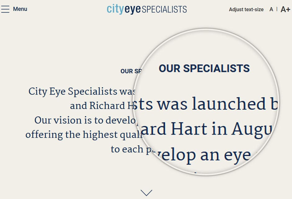 High Quality Web Design by FutureLab - City Eye Specialists